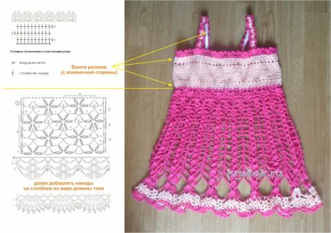 Топик для девочки. Работа Анны Лев вязание и схемы вязания