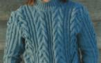 Мужской свитер с «косами» спицами