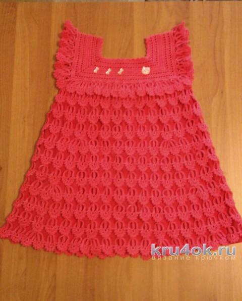 Детское платье Перо ангела. Работа Юлии Ковалевой вязание и схемы вязания