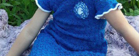 Вязанное летнее детское платье