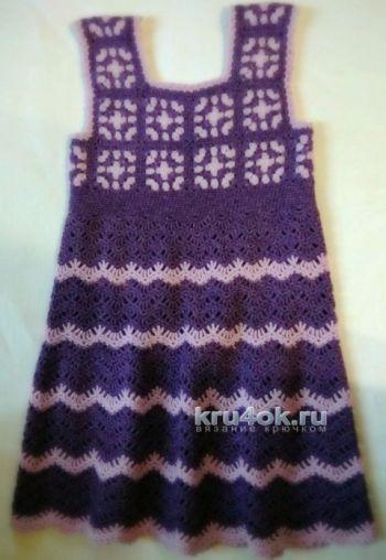 Вязаный сарафан для девочки с мотивами бабушкин квадрат