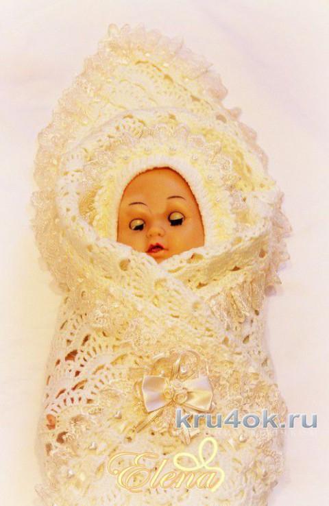 Плед для новорожденного крючком. Работа Елены Зубковой вязание и схемы вязания