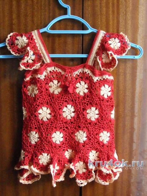 Туника для девочки крючком. Работа Маргариты вязание и схемы вязания