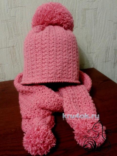 Шапочка и шарф крючком. Работы Евгении Руденко вязание и схемы вязания