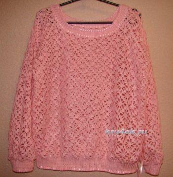 Ажурный пуловер крючком - работа Евгении Руденко