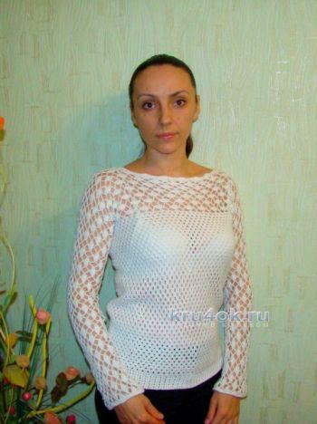 Вязаный пуловер - работа Евгении Руденко