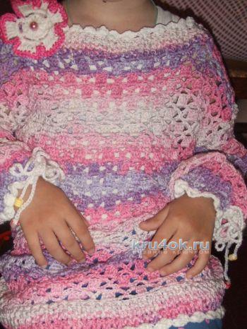 Пуловер летний Розовые сны. Работа Ольги