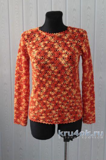 Ажурный пуловер крючком. Работа Ксюши Тихоненко