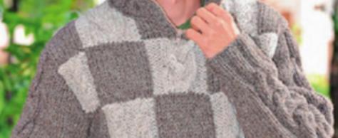 Мужской пуловер с шахматным узором