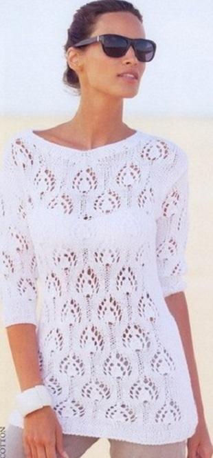 Пуловер Павлинье перо спицами