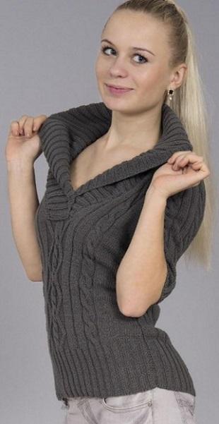 Пуловер с шалевым воротником спицами