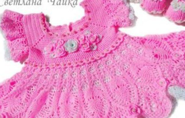 Ажурный комплект Зефирка. Платье и пинетки для девочки