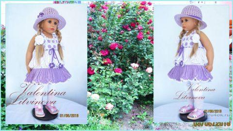 Комплект: платье Сиреневые глазки и шляпка. Работа Валентины Литвиновой вязание и схемы вязания