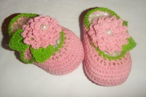 Пинетки Цветочные туфельки крючком