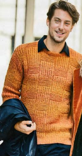 Мужской пуловер со структурным узором, вязаный спицами